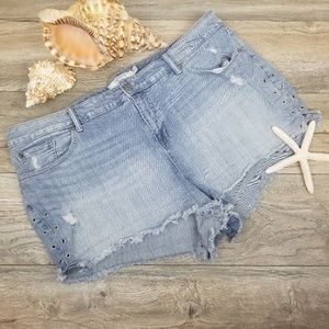 Torrid denim jean shorts grommet trim Sz 26